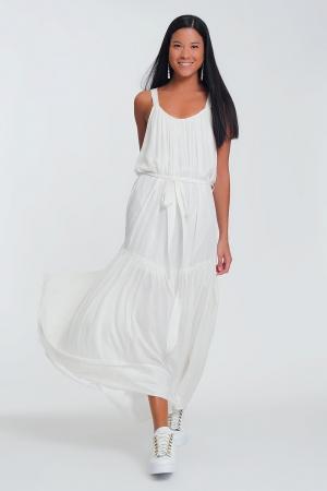 Vestido largo crema con parte posterior cruzada