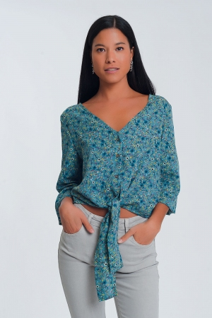 Blusa de manga larga con cuello de pico, detalle de botón y estampado floral - verde