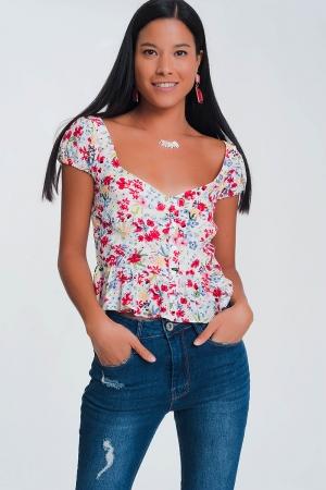 Blusa con detalle fruncido y estampado floral crema