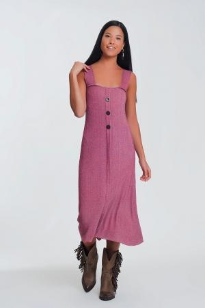 Vestido de punto con botones en Rosa