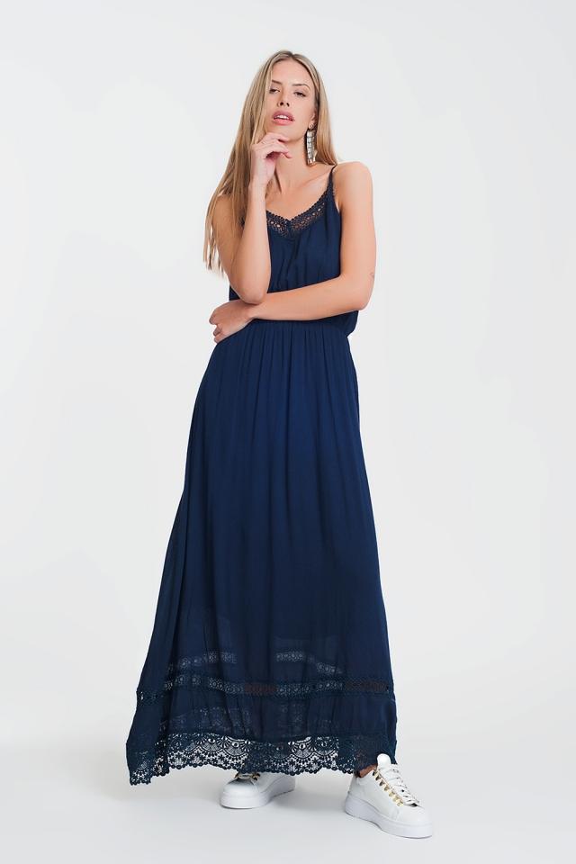 Navy dress with crochet trim