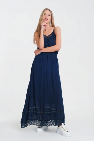 Vestido largo de playa azul marino con panel de croché