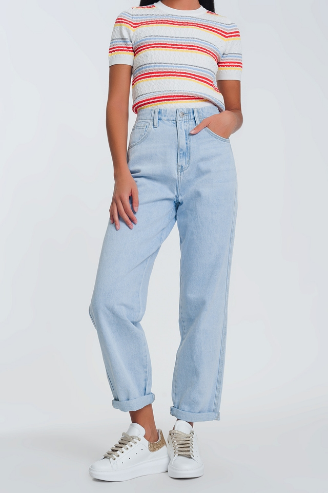 straight jeans in light denim with folded ankles