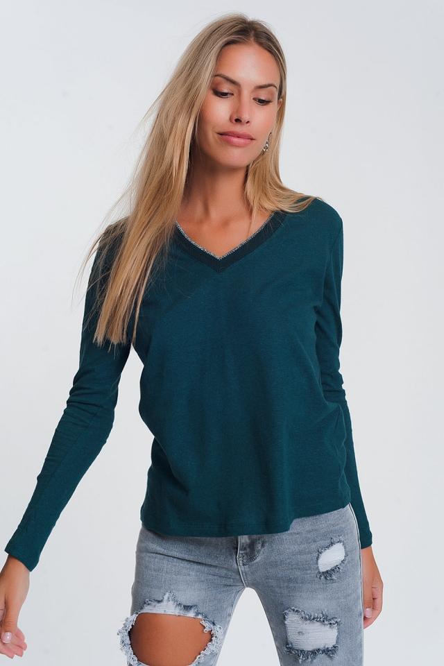 Ligero Jersey con Brillantina cuello de pico en verde