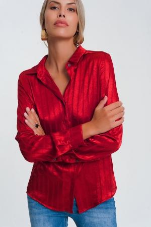 Camisade satén con manga larga y rayas en rojo