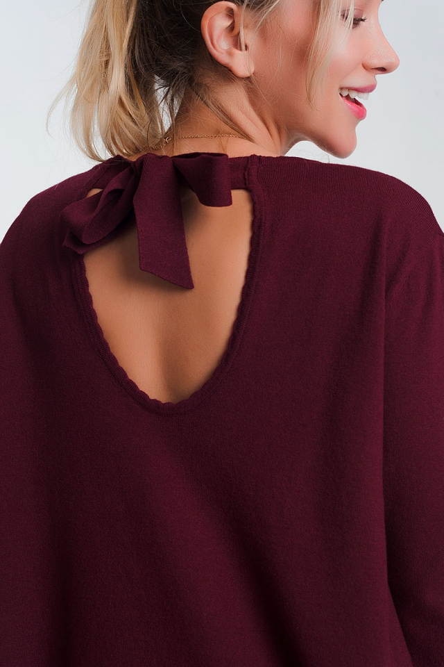 Open tie back jumper with long sleeves and v neck in maroon