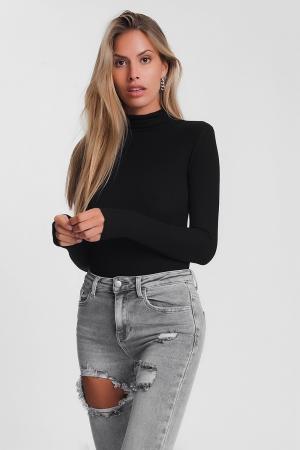 Jersey fino ajustado de cuello alto en negro