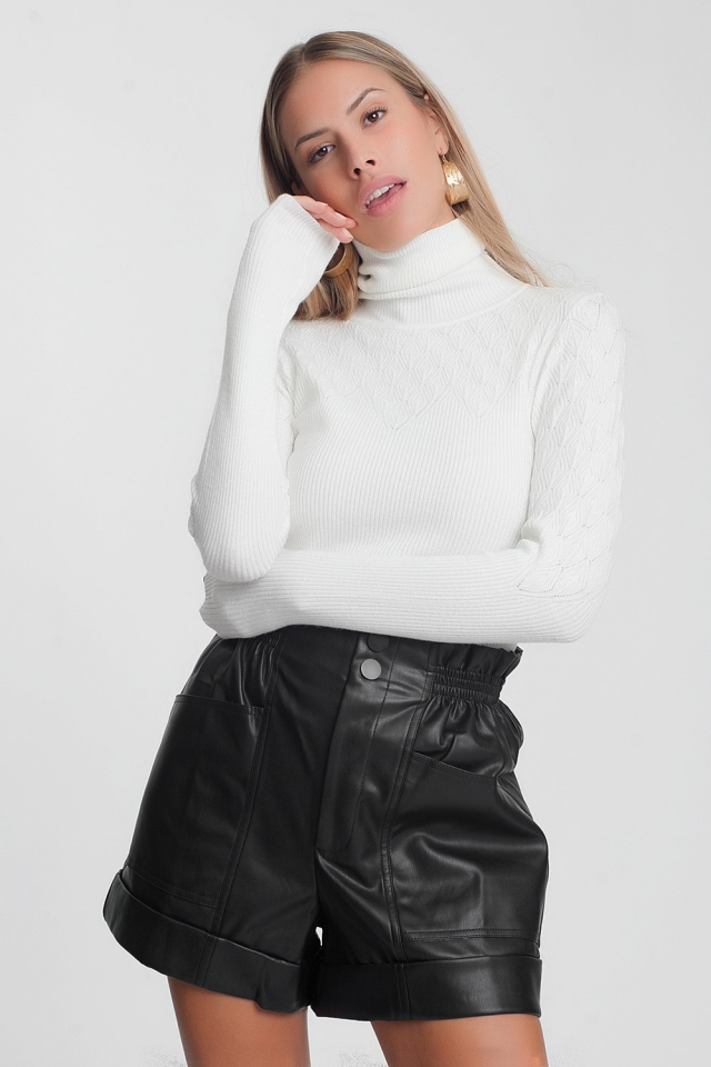 White sweater with turtle neck and long sleeves