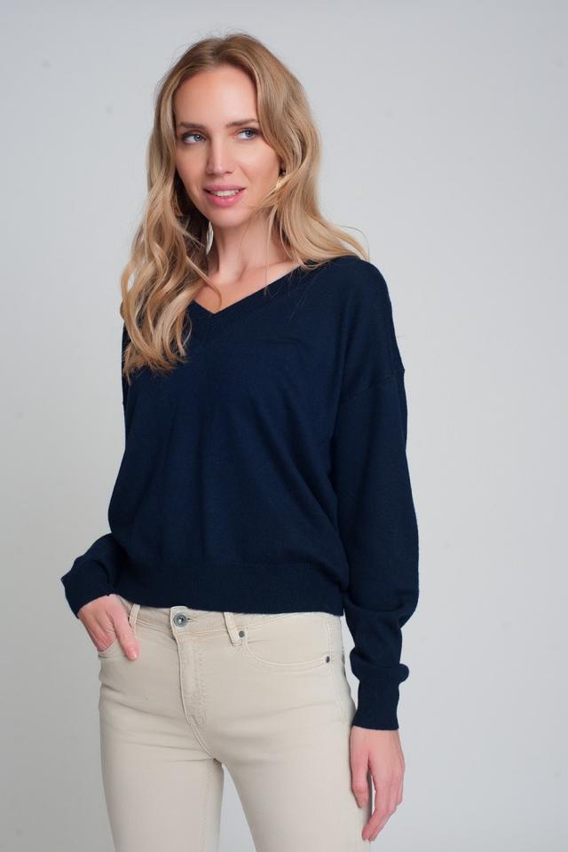 Jersey azul marino de punto fino con cuello de pico
