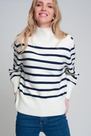 Jersey de rayas con detalle de botón en negro