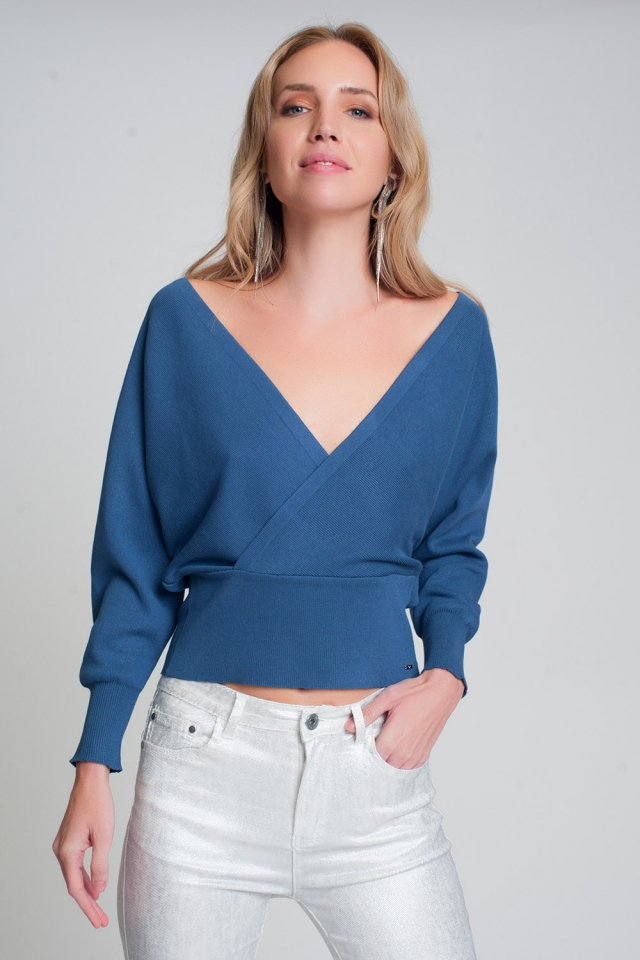 Jersey de punto con cuello de pico envuelto en azul