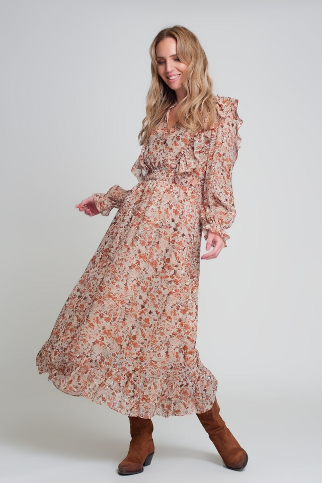 Vestido midi con estampado floral marrón con volantes y manga larga con cuello de pico