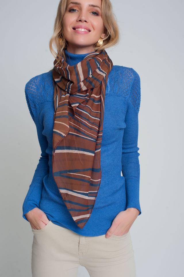 Pañuelo marrón ligero con estampado geo