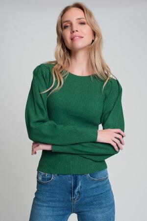 Jersey verde de punto de canalé con cuello redondo y mangas largas