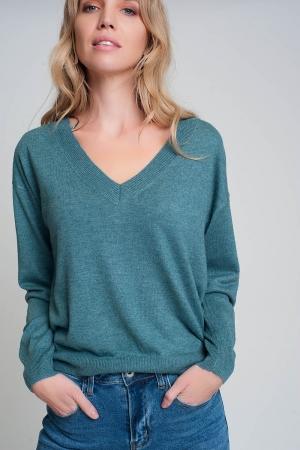 Jersey verde de punto fino con cuello de pico