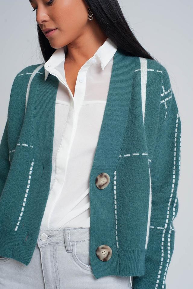 Cárdigan con diseño abotonado y cuello con v en verde