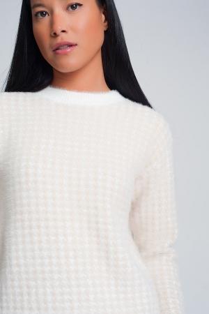 Jersey de felpa con estampado de pata de gallo en beige