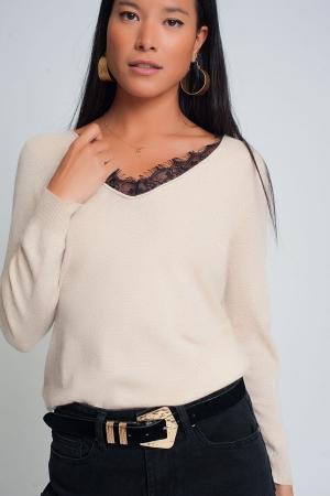 Suéter suave con detalle de encaje y cuello en V en color beige