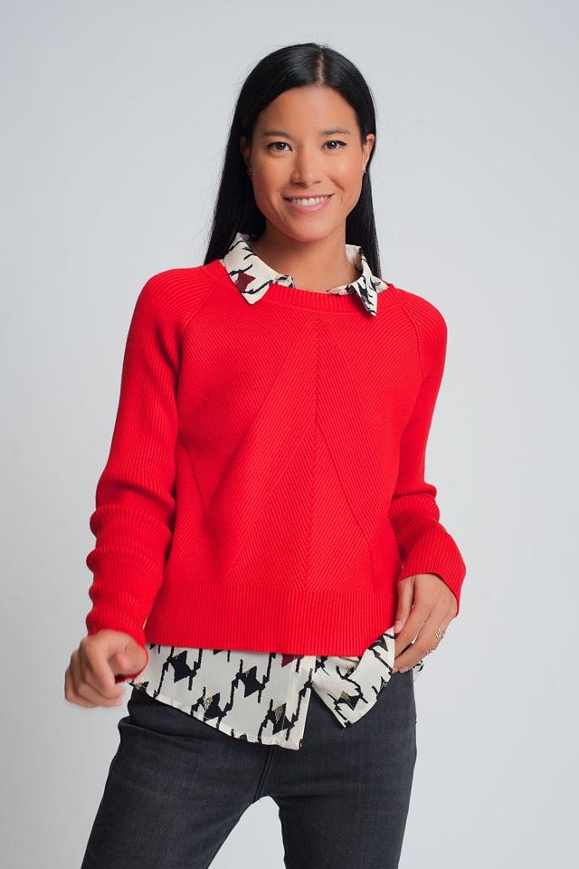 Jersey rojo de punto de canalé con cuello redondo