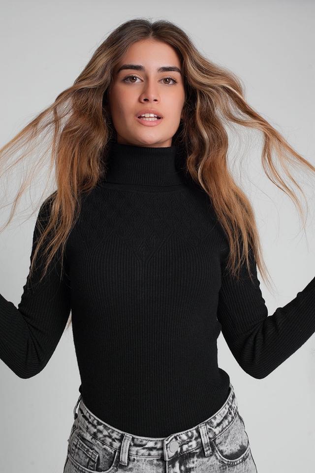 Suéter suave ajustado color negro de punto con cuello alto