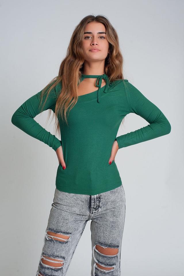 Jersey escote asimetrico en color verde