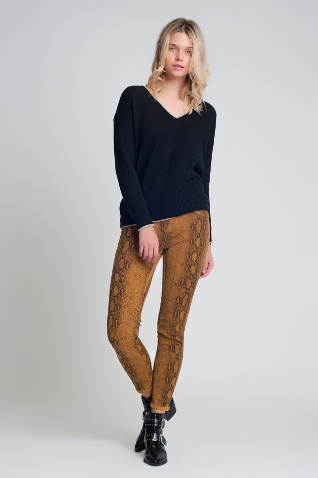 Pantalon estampado serpiente reversible en Mustard