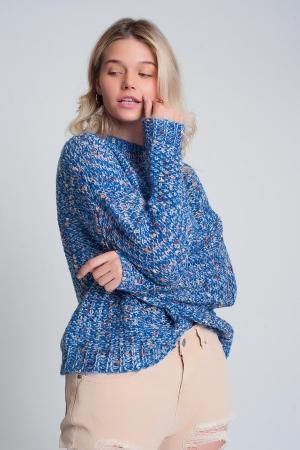 Jersey de punto grueso jaspeado en color azul