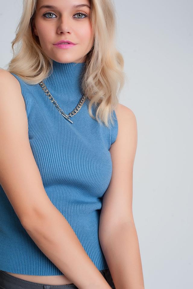 Jersey de canalé sin mangas con cuello alto en azul