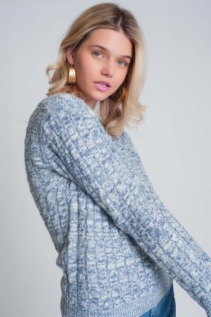 Jersey de ochos con cuello redondo en azul