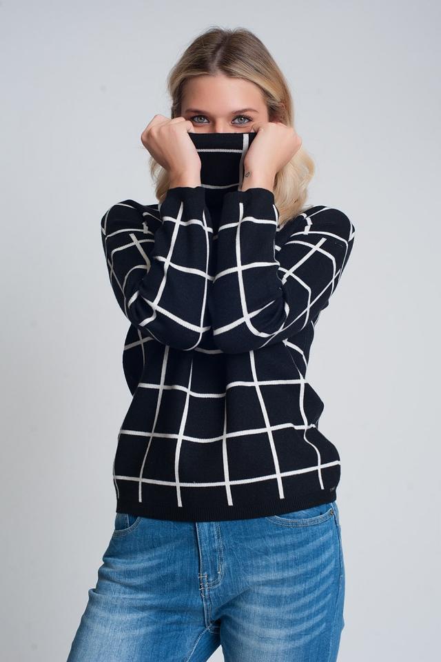 Jersey de punto suave con estampado de cuadros y cuello vuelto en negro