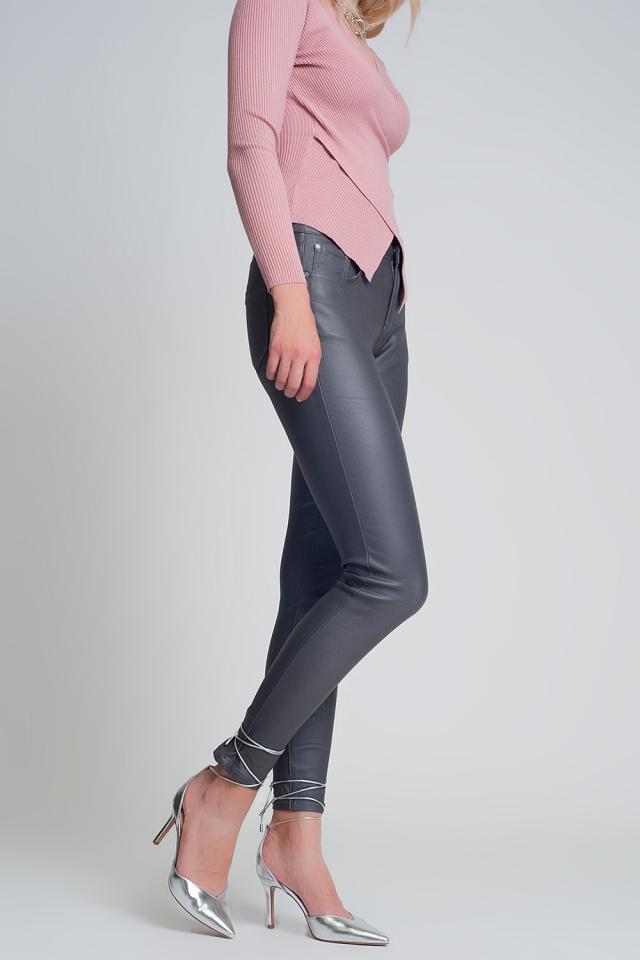Pantalones ajustados de talle alto en gris