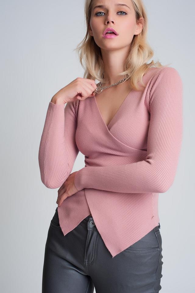 Jersey cruzado acanalado rosa con cuello en v