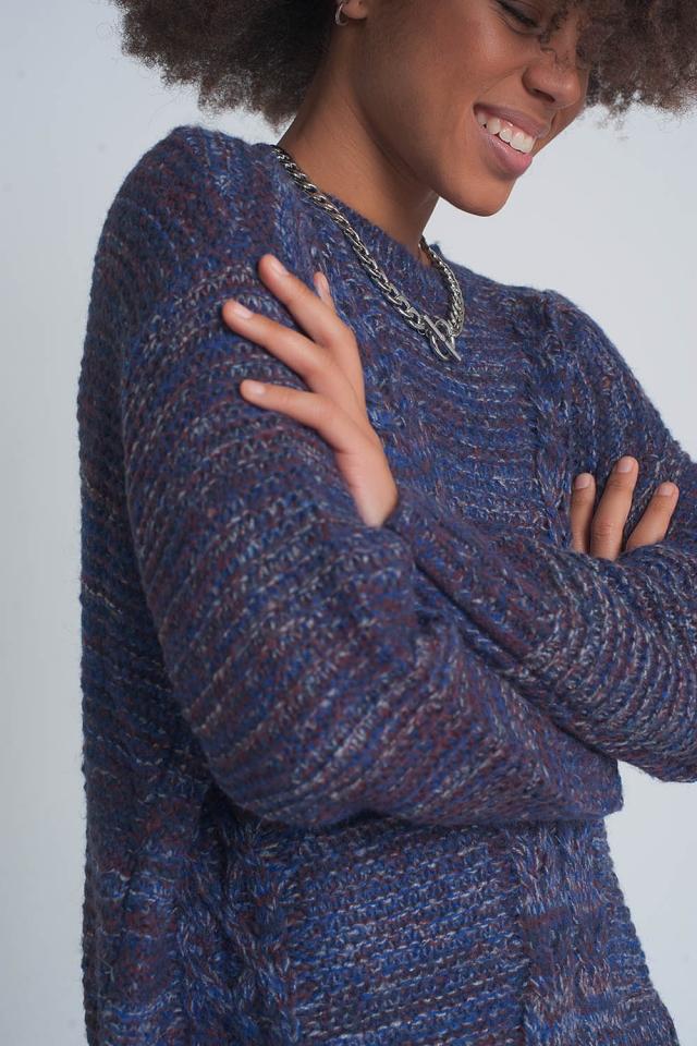 Jersey de punto de ochos morado con cuello redondo