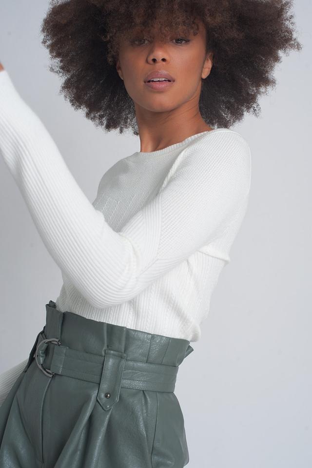 Jersey de canalé ajustado con cuello redondo en crema