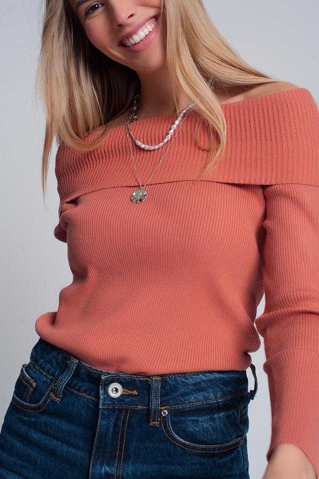 Jersey con escote Bardot en coral