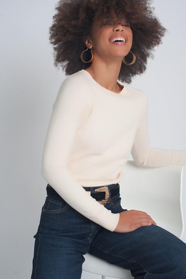 Jersey beige de punto con cuello redondo y diseño liso