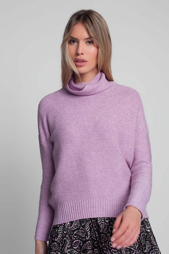Jersey rosa extragrande con cuello desbocado