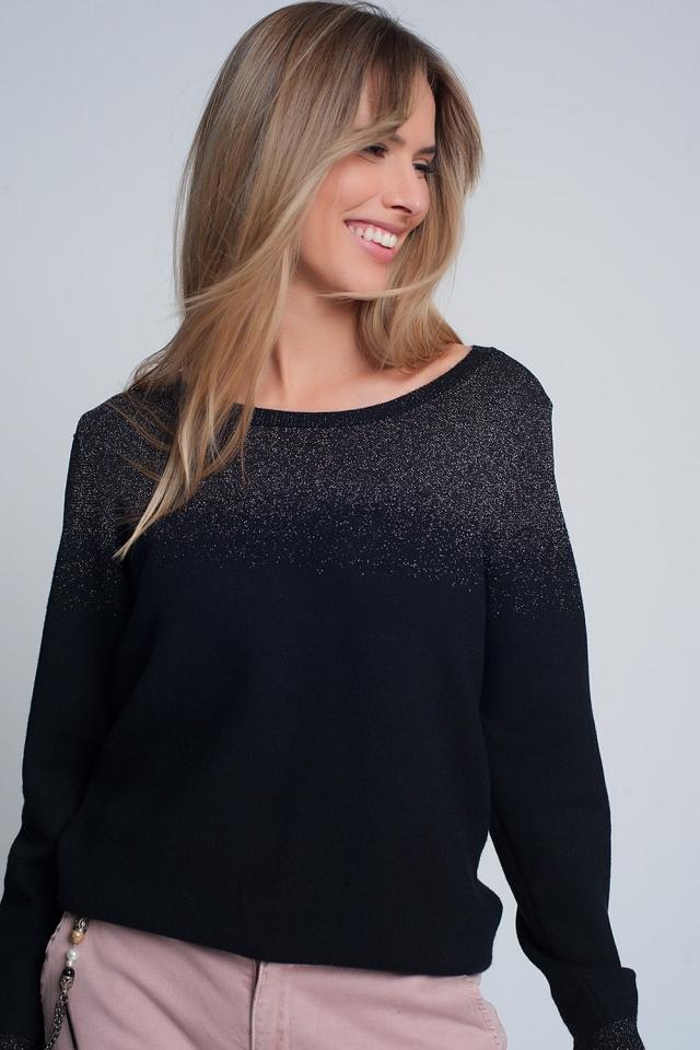 Jersey holgado con cuello redondo brillante en negro