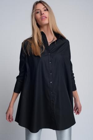 Camisa extragrande de popeline en negro