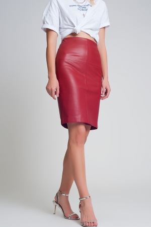 Minifalda de cuero sintético roja