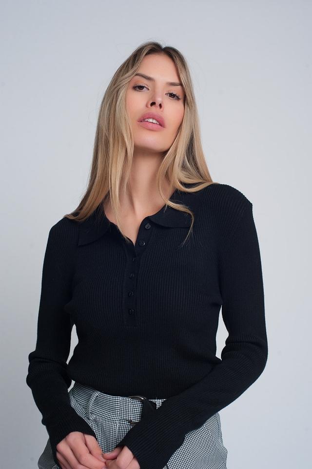 Jersey con cuello y detalle de tapeta de botones en negro