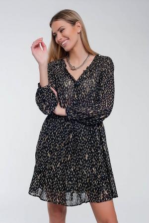 Vestido corto negro con estampado floral metalizado