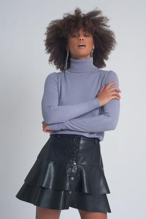 Jersey de cuello alto básico en morado