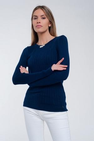 Jersey de canalé ajustado con cuello redondo en azul marino