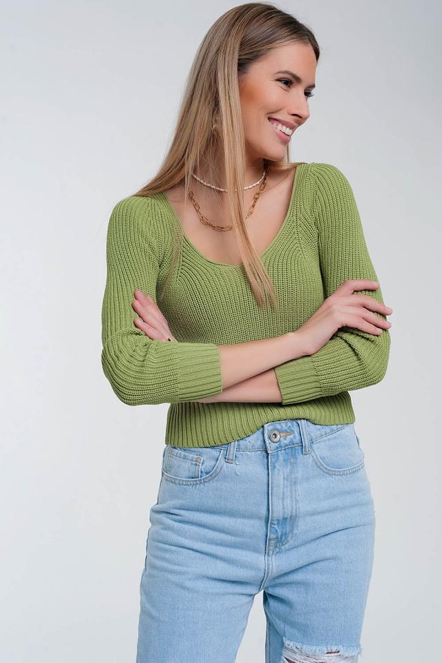 Jersey de punto de croché en verde