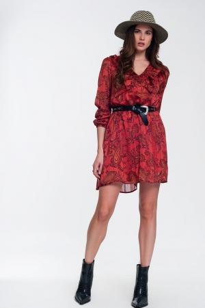 Vestido corto rojo con estampado de cachemir