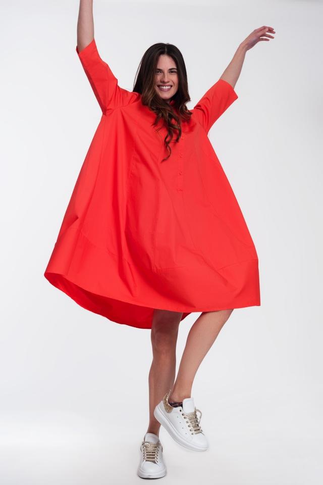 Vestido camisero extragrande rojo