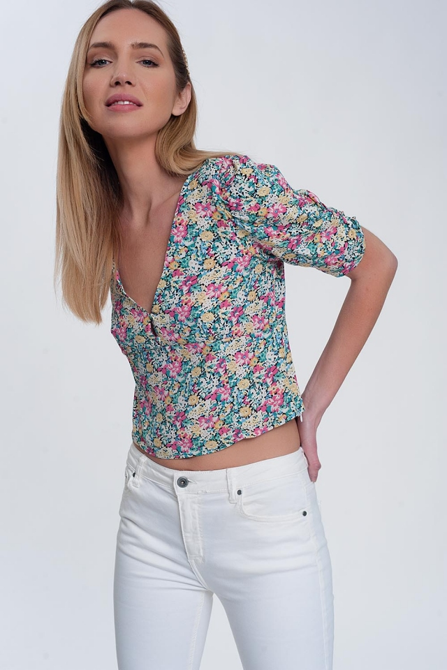 puff sleeve top in green  floral