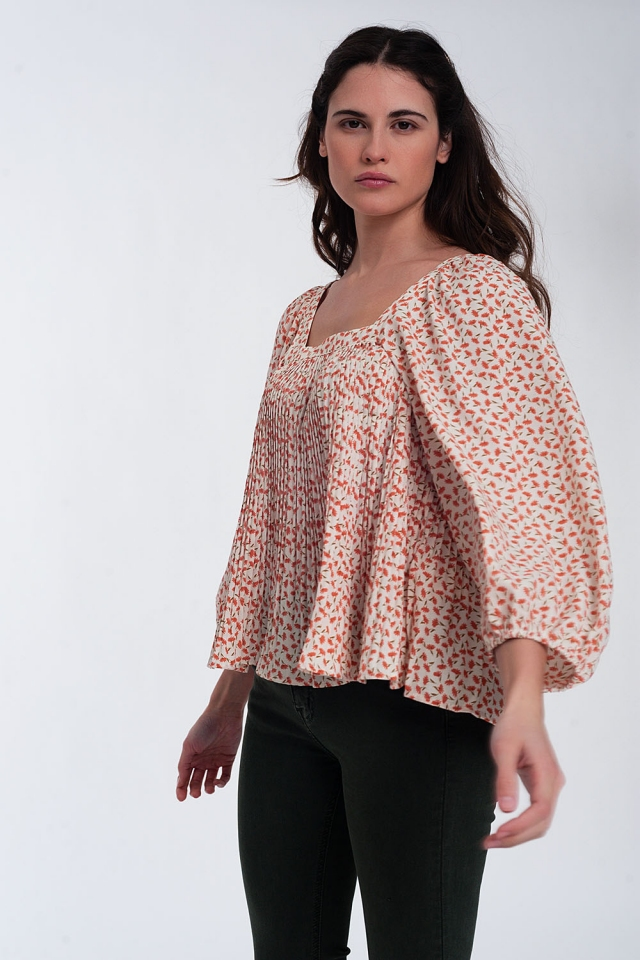 Boxy top in floral colour coral