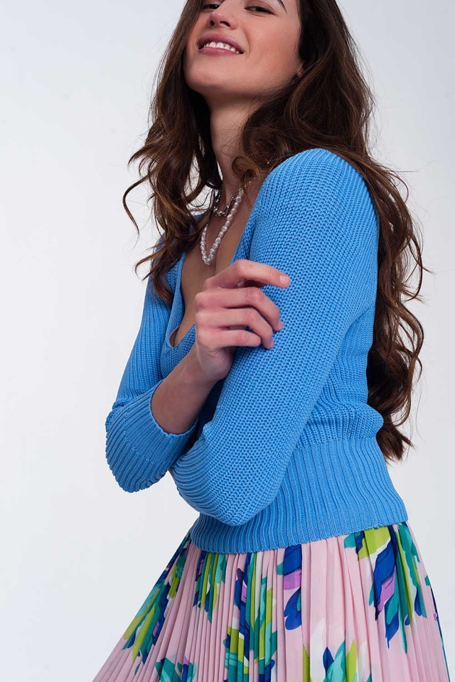 Crochet knit jumper in blue